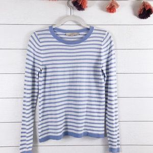 LOFT • Striped Cotton Silk Crewneck Sweater